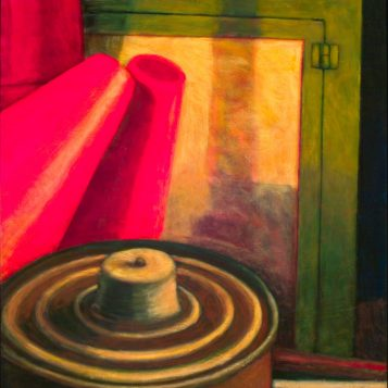 Traffic Cone, Medicine Cabinet and an Oil Lamp